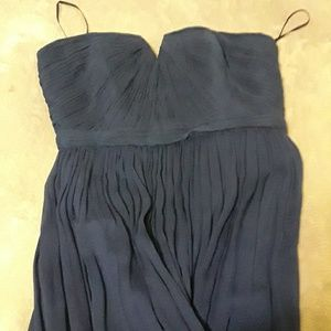 J.CREW 100%silk long blue formal dress size2